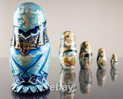 Russian nesting dolls hand-carved matryoshka with troika 5 pieces