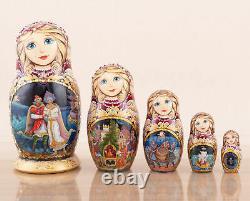 Russian nesting dolls red Palekh art Tsar Saltan, Matryoshka dolls