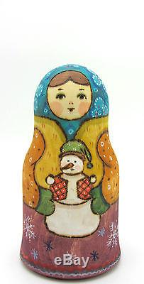 Russian stacking dolls 5 HAND PAINTED MATT WINTER Martryoshka Christmas Snowman