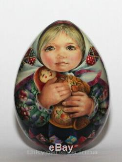 Russian tradition wooden EGG matryoshka baby girl nesting doll artist Bikyasheva