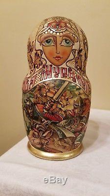 STUNNING 15 piece matryoshka doll (Russian nesting doll) Ilya Muromets depicted