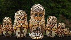 Sergiev Posad 10 Pc Russian Matryoshka doll Artist Sgnd 1993 Trinity St Sergiy