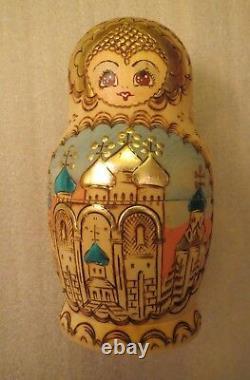 Sergiev Posad 7 piece Matryoshka doll, vintage signed dated Russian doll, rare