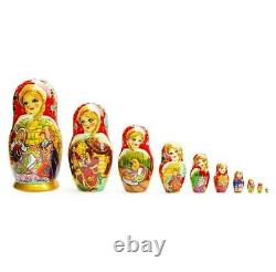 Set of 10 Cinderella Wooden Russian Nesting Dolls 10 Inches