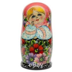 Set of 10 Girl in Pink Scarf and Embroidered Blouse Russian Nesting Dolls 11 Inc