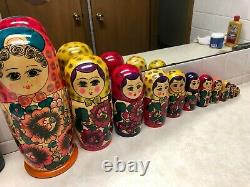 Set of 12 Hand Painted Russian Nesting Dolls
