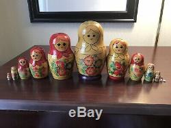 Set of 13 Big Vintage Russian Wooden Nesting Dolls, SEMENOV REGION, USSR c. 1989