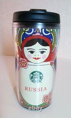 Set of 2 Starbucks Tumbler Matryoshka Russian Nesting Doll Frm Russia 12oz 355ml