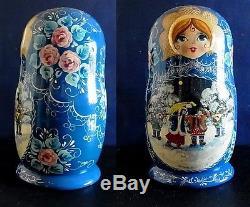 Set of 7 Art Nesting Dolls Russian antique hand made Signed VINTAGE