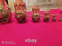 Set of nesting dolls hand painted (7 pcs) Matryoshka set