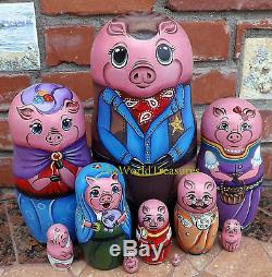 Sheriff's Family on the Set of Ten Russian Nesting Dolls. Pigs