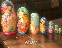 Signed 7 pc Russian Nesting Doll Matryoshka Babushka Signed Artist Ocean Sea 8
