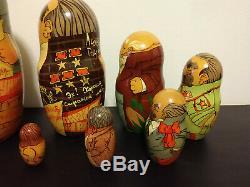Signed Antique Matryoshka Russian Nesting Dolls 1993 Propoganda Communism Moscow