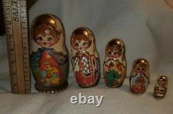 Signed Antique Matryoshka Russian Nesting Dolls Wood Burned 22k Gold hand paint