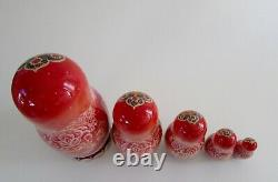 Signed Russian Fairy Tale MUSIC Matryoshka Nesting Dolls Set 5 1998
