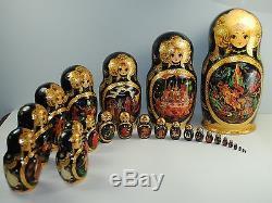 Stunning 1999 Russian 25 Pieces Matryoshka Nesting Doll 13 Fairy Tales