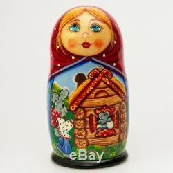 TEREMOK Wooden Toys Matryoshka Nesting Doll Hand Painted Russian Fairy Tale