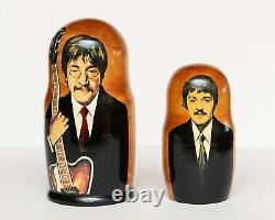 The Beatles! Matreshka! 5 Pc Handmade Wooden Russian Nesting Dolls! Excellent