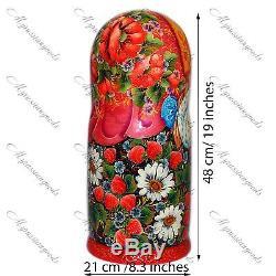 Traditional large Russian doll gift Matryoshka babushka doll set handpainted ART