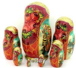 Troika Matryoshka Winter Walks Big Babushka Russian 7 HAND PAINTED nesting dolls