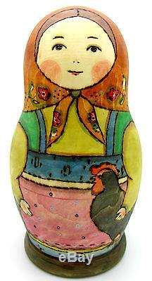 UNIQUE Russian stacking dolls 7 HAND PAINTED BIG Babushka Chicken RYABOVA signed