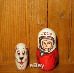 USSR cosmonaut Babushka SPACE Russian Nesting dolls Gagarin Titov Leonov Belka 5