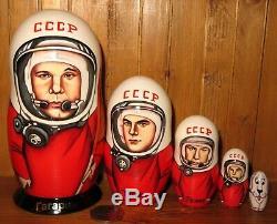 USSR cosmonaut Gagarin SPACE Russian Nesting dolls Titov Leonov Belka 5 Babushka
