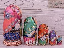 Ukraine authors Russian wooden nesting dolls matryoshka hand-painted 17cm 5pcs