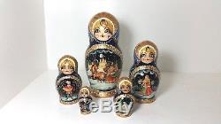 Unique, Gorgeous Russian nesting doll Winter, Matryoshka 5 pcs set, 7in high