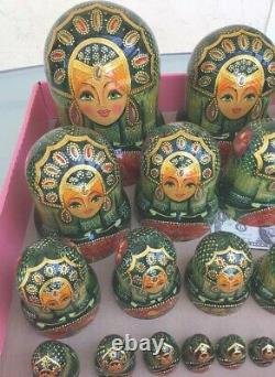 Unique Hand Painted Lacquer Wood Russian Nesting Dolls Set of 29 Signed 16 Tall
