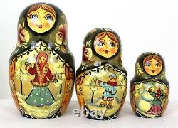 Unique Russian Nesting Doll Russian Winter- Artist Signed