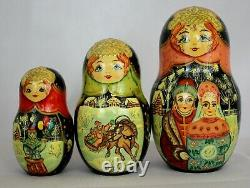 Unique Russian Nesting Doll Russian Winter Troika- Artist Signed-10 pieces