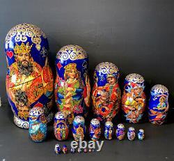 Unique Russian Nesting Dolls 20 pcs Palekh Matryoshka Playing Card Handmade R3