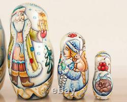 Unique nesting dolls blue and gold Morozko, Russian Christmas matryoshka