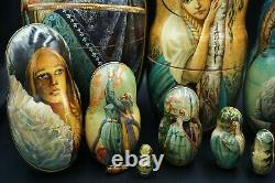Unusual Russian Nested Dolls (Set of 10) Made in Russia LOOK! C 2000 Signed