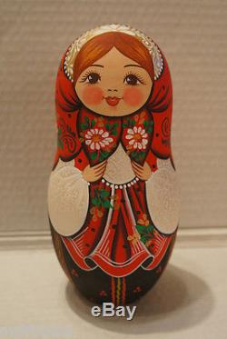 VERY BIG Russian Matryoshka Wooden Nesting Dolls 10 Pieces Unique Coloring