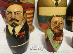 VINTAGE Rare! RUSSIAN USSR PRESIDENTS NESTING DOLLS 11 PCS