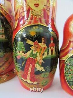VTG Ceprueb Nocag Russian Fairy Tale Matryoshka Wooden Nesting Dolls 5