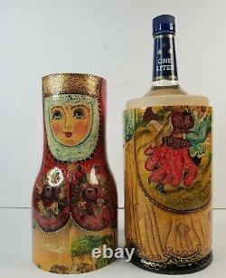 VTG Russian Girl Wood Wine Vodka Bottle Holder Large Hand Painted Dancing Couple