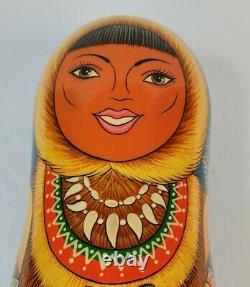VTG Russian Inuit Girl Wood Wine Vodka Bottle Holder Signed Doll Eskimo Dog