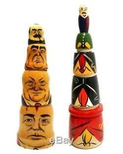 Vint Soviet Cccp Leaders/politically Themed Babushka Painted Wood Nesting Dolls