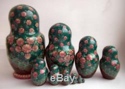 Vintage 10Pcs Signed Matryoshka Russian Fairy Tale Nesting Doll Magnificent #102