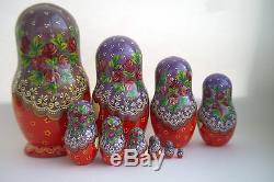 Vintage 10Pcs Signed Matryoshka Russian Fairy Tale Nesting Doll Magnificent #134
