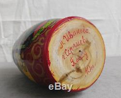 Vintage 10 Pcs Russian Matryoshka Hand Painted Nesting Doll Lacquer Wood