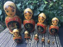 Vintage 10 Piece Russian Folklore Matryoshka Nesting Dolls signed SHCHEGLOVA