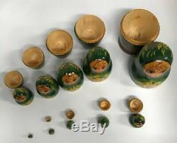 Vintage 10 Piece Russian Hand Painted Nesting Doll Signed Nocag