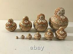 Vintage 10 Piece Russian Matryoshka Wood Nesting Dolls R Ceprueb Nocag Exc Cond