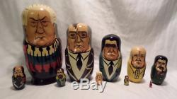 Vintage 10 Piece Set Russian Nesting Dolls Matryoshka Russian Soviet Leaders