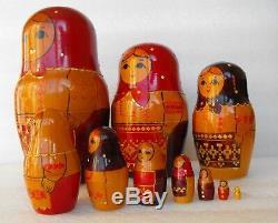 Vintage 11 piece wooden Russian Nesting Dolls Matryoshka Hand made in USSR
