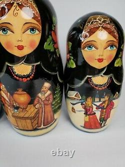 Vintage 12 piece Russian Nesting Dolls Signed Hand Painted Fairytales